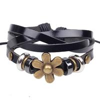 New Arrive Handmade Braided Black Cow Leather Adjustable Women Bracelet RuYiSLQ249