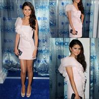 Sexy Selena Gomez Ruffles One Shoulder Short Light Pink Celebrity Dress Cocktail Dresses
