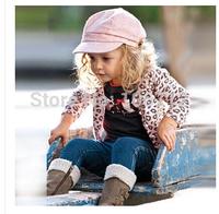 1PCS girls leopard cardigan owl t shirt jeans pants clothing sets jacket +long sleeve t-shirt+jeans 3pcs clothes set suits