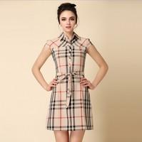 2014 fashion women summer  Women's Casual plaid palace Turn-Down Collar Patchwork Sleeveless Brand grid Dress england style
