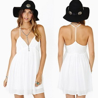New 2014 Summer Sexy Women Empire Spaghetti Strap Deep V Neck Backless Chiffon Dress Vestidos, White, S, M, L, XL