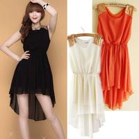 New 2014 Summer Casual Women Chiffon Sleeveless Pinched Waist Asymmetrical Hem Dress Vestidos, 7 Colors, Size Free