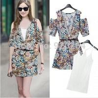 2014 Summer New Big Size Loose Temperament Short-sleeved V-neck Strapless Flower Print Metal Decorative Dress C-AWS8991