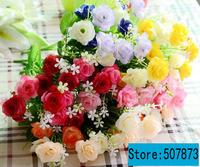 10pcs/lot 15 Flowers head Wild rose flower Silk Head Artificial Flowers Wedding party Flower family decorates flower FH004