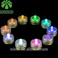 Minki 12pcs round type blue green red white yellow warm white pink purple RGB led mini water submersible lights