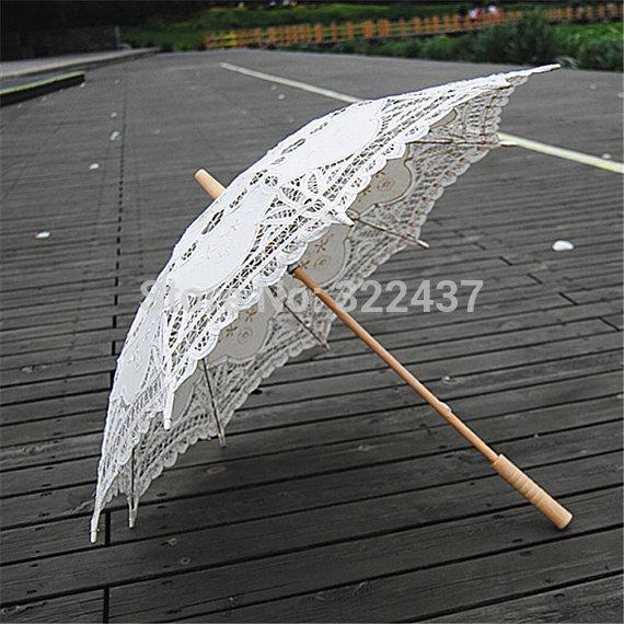 Nupcial de la boda paraguas, de novia sombrilla, regalos de boda, llenas del cordón bradesmaid de regalo, favores de la boda, blanco de la boda paraguas