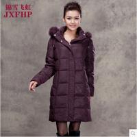 2014 Winter Thicken Warm Woman Down Jacket Parka Plus Size 5XXXXXL Luxury Slim Brand Long Hooded Fur collar Overcoat Coat Free