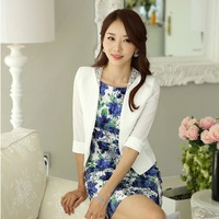 New 2014 Spring Summer White Blazers Women Jackets Short Ladies Office Uniform Style Work Female Blaser Feminino