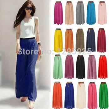 Женщины Double Layer Шифон Pleated Длинный Maxi Dress Elastic Талия Skirt
