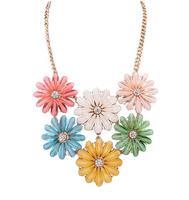 Wholesale Flower Choker Women Necklaces & Pendants Fashion Statement Necklace 2014 Unique Luxury Big Pendant Necklace #106776
