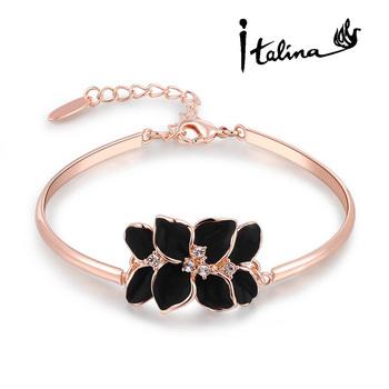 Italina Rigant классический цветок браслет 18 К розового золота с австрийский хрусталь ...