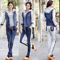 M-2XL Plus Size 2014 women sport suit denim jackets sportswear top + long pants 2pcs/set long sleeve Leisure suit hoodies suit
