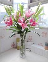 Free shipping 4 perfume lily simulation flower head Tiger lily flower decoration flower wholesale landing