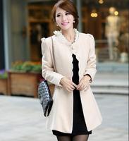 2014 Graceful British Style Winter Women Warm Wool Outerwear Coats Casual Dress / Fashion Female Overcoat Free Shipping