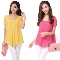 2014 New Fashion Hot Sale Plus Size Casual Short Sleeve Chiffon Blouse Shirts For Women Hot Summer Tops Free Shipping