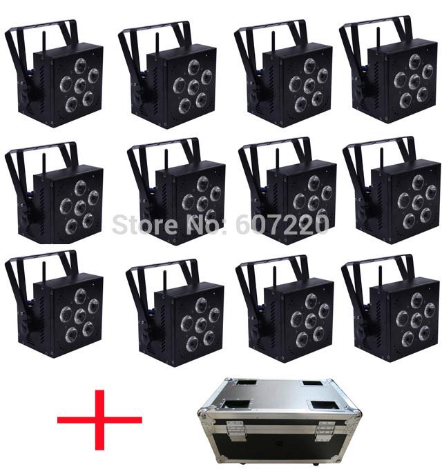 12 pcs avec flighcase sans fil alimenté par batterie conduit par la lumière, rgbwa+uv 6in1 dj lumière couleur de lavage, lumières dj