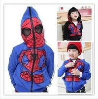 Free shipping Retail 2014 New children clothing girls boys baby,100%cotton  leisure spider-man  Hoodies kids soft Sweatshirts