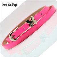 Fashion New Style Candy Fluorescent Color Butterfly PU Leather Slender Belt 2pcs/lot  H057E