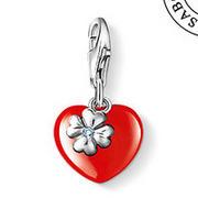 Мода европейский серебро 925 комплект клевер и красный сердца шарма ( 1.2 x 1.1 см ...