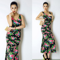 2014 new sexy fishtail put dinner package hip dress ethnic floral