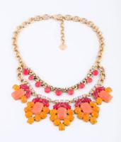 2014 Summer New Arrival Fashion Luxury Statement Orange Flower Gem Necklace & Pendant For Women Free Shipping