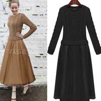 European style 2014 women's sweater dress lace long dress long sleeve o-neck ladies sweater dress 8890