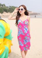 2013 New Saress Bikini Wrap Dress Women's Sarong Swim cover-ups Cross Beach dress Rose