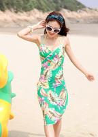 2013 New Saress Bikini Wrap Dress Women's Sarong Swim cover-ups Cross Beach dress Leaves