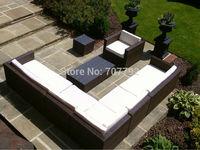 8 Piece Outdoor Rattan Complete Sectional Garden Sofa Lounger in Black