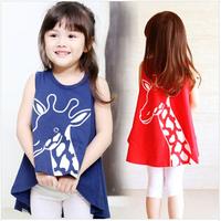 New 2014 Summer Cartoon Cute T Shirts Children Kids Lovely Deer Print Sleeveless Tee Tank  Irregular Baby Girls Clothing L20-10