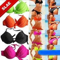 New 2014 VS Multi Colors Bikinis Set Biquini Brazilian Push Up Victoria Swimwear Strappy Bikini Women Bandeau Top Swimsuit Bow