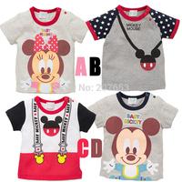 2014 NEW Free shipping 20pcs/lot  kids cartoon  t-shirt  children mickey mouse short sleeve t-shirt  kids mickey mouse clothing