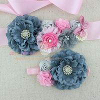 2pcs set Grey pink flower sash baby girl sash and Matching headband Photography props wedding sashes