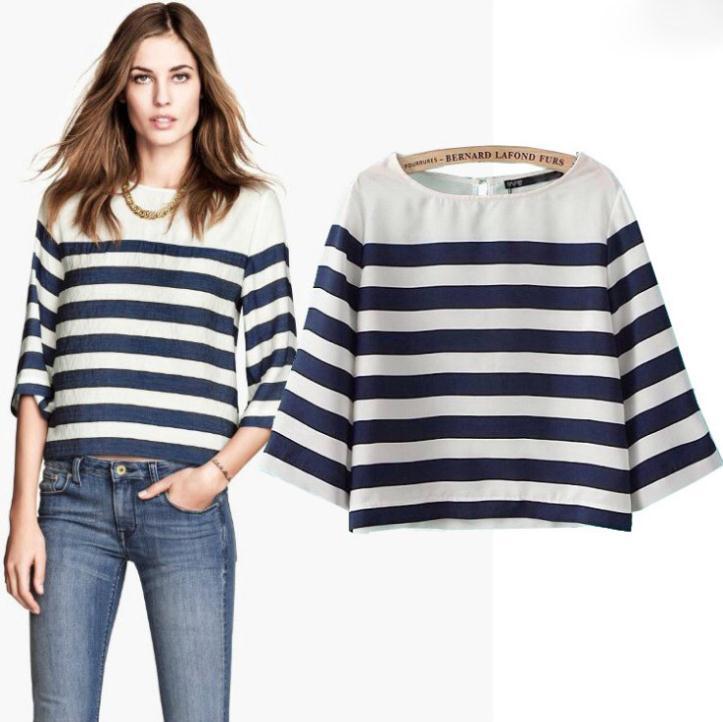 Nova chegada de moda blusas feminino casual roupas meia manga o- pescoço das mulheres blusa de poliéster verão curta camisa listrada navy(China (Mainland))