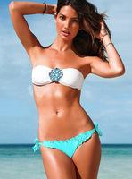 Free Shipping Victoria Swimwear VS Rhinestone Flower Swimsuit Women Strappy String Bikini Bandeau Top Crystal Diamond Swimwear