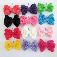 12pcs/lot DIY Baby girl headdress headband hair accessories 8cm Chiffon rose flower bow