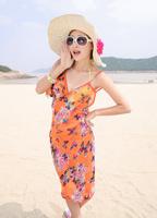 2013 New Saress Bikini Wrap Dress Women's Sarong Swim cover-ups Cross Beach dress Butterfly