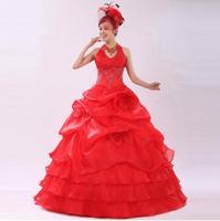 New 2014 red and white wedding dress flower the bride married halter-neck bridal dress wedding dress X193