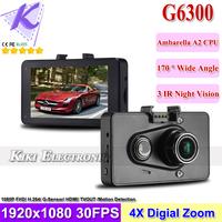 Ambarella Car Camera DVR 1080P Full HD + 170 Degree Wide angle + IR Night Vision + G-sensor +Motion Detection HDMI/ TV Out G6300