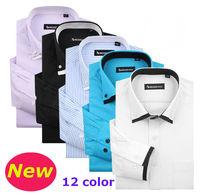 men  Fashion  Casual  slim fit  shirt  long  Sleeve  striped  dobby  man  camiseta shirts  SL01-12    S M L  XL XXL XXXL