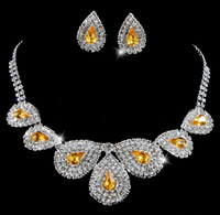 Great Quality Sparkling Big Water Drop Austria Crystal Bridal Wedding Choker Necklace Earring Set Jewelry