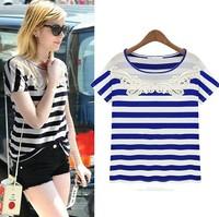 2014 summer Fashion women's o-neck embroidered stripe short sleeve T-shirt women blue blouses & shirts free shipping