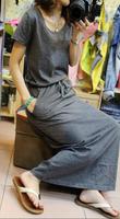 cotton casual long dress short-sleeved drawstring dress mopping the floor dress women summer
