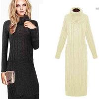 European style 2014 women's sweater long dress pockets long sleeve Ankle-length long sweater dress lady knitted dress 8655