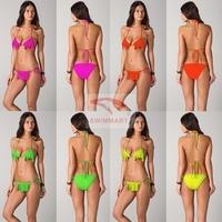 New 2014 Cheap Brazilian Bathing Suits Hot Sexy Fringe Bikini Top Bottom Candy Color Halter Fringed Women Swimwear Neon Swimsuit