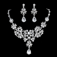 Charms Woman Statement Necklace Earring Set Pink Shiny SWA Crystal Bridal Wedding Costume Jewelry