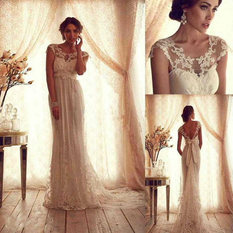 nuovo stile vintage 2014 appliques pizzo sexy spiaggia abiti da sposa backless cappella treno lungo formale vestito da partito plus size
