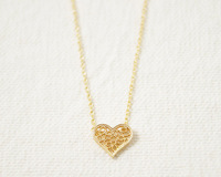 2014Fashion 18k Gold silver plated Filigree Heart necklace Pendant Necklace for women gift Free Shipping Wholesale