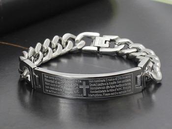 Винтажный крестики библия подвески-талисманы браслет 316L нержавеющая сталь мужчины ...