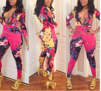 2014 Summer Fashion Sexy Women Long  floral  High Slit Maxi jumpsuit Deep V Neck  High Novelty Club romper
